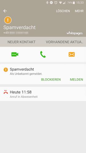 Anruf melden