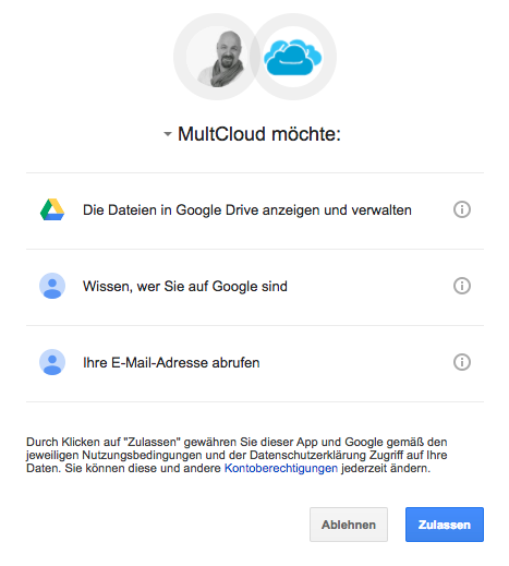 MultCloud Authenifizierung
