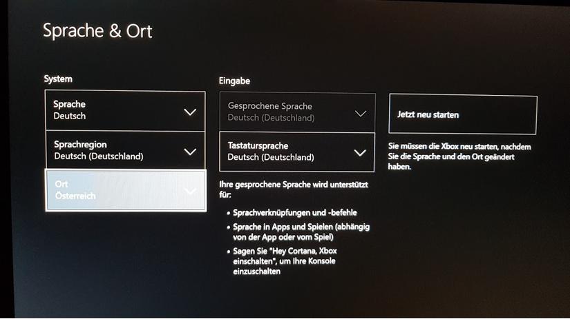 Xbox Store umstellen