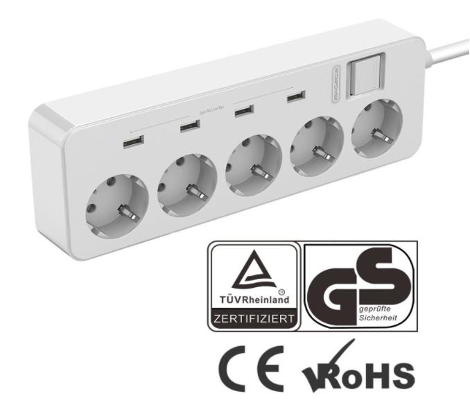 5-Fach-Steckdose mit 4x USB